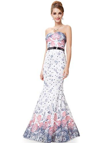 Ever Pretty Robe de cocktail longue bustier imprim¨¦e fleur 08226 Rouge