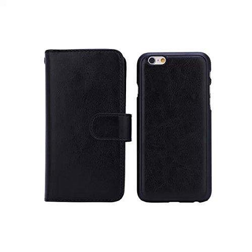 iPhone 6Plus Coque, fente pour carte multifonction Support Sac Étui Coque Arrière Amovible pour iPhone 14cm noir