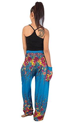 Lofbaz Damen Haremshose mit gesmoktem Bund Blumenmuster Elefantendruck Funky Floral 2 Blau