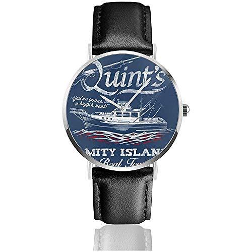 Unisex Business Casual Quints Amity Island Boat Tours Jaws Relojes Reloj de Cuero de Cuarzo