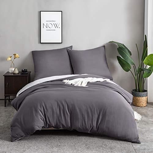 QZY 2teilig Bettwäsche 50% Baumwolle mit Reißverschluss - 135x200cm und 80x80cm Kissenbezug   Dunkelgrau/hellgrau