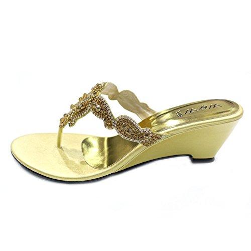 & W W pour femme Slip à bass'avec talon compensé de soirée Dressy Holiday-Chaussures Sandales 4–10 (Noir, jaune, rouge, argenté, doré) MOLLY Or - doré