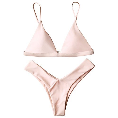 ZAFUL Damen Sport Push-Up Wickeln Bikini Sets Bademode Badeanzug Swimwear Swimsuit Rosa M