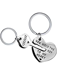 Uloveido Stainless Steel His and Hers 2 Pcs Couples Keychains Set for Women  Men Personalized Lovers Puzzle Matching Key Ring Jewelry… 00ca75457e