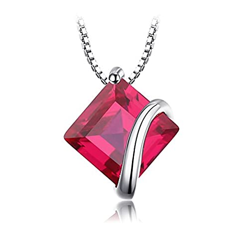 JewelryPalace Classic Square 3.3ct Created Red Ruby Pendant Necklace 925 Sterling Silver 18 Inches