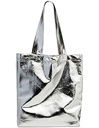 CASPAR Fashion Ts1047 Large Women Shopper Bag/Metallic Tote Handbag, Colour: Silver;Size: One Size