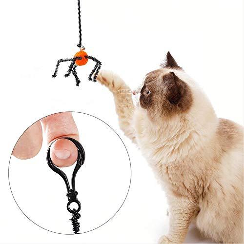 Halloween Cat Jagen Spielzeug, Spinnen und Fledermäuse Jagen Große Schwerter Spielzeug Seile und Glocken, Interaktive Fun Cat Teasing Spielzeug-Trainingsspiel,Orange