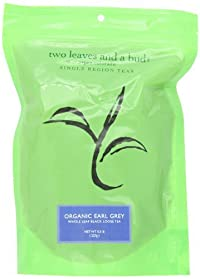 Two Leaves Tea Company Organic Earl Grey Black Loose Tea, 0.5 lb Resealable Pouch (Pack of 2)