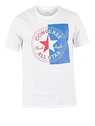 Converse Herren Halbes Mesh Logo T-Shirt, Weiß Weiß