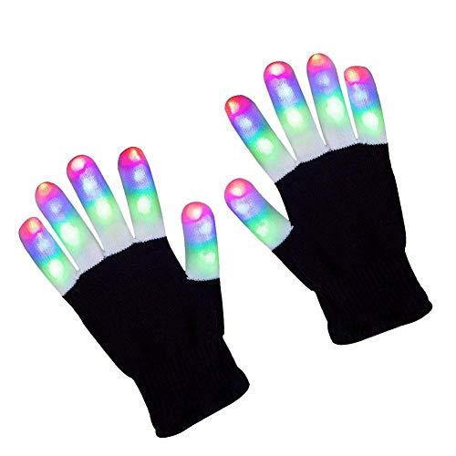 Tuipong LED-Handschuhe, leuchtende Handschuhe, Fingerbeleuchtung, Spielzeug mit 3 bunten Lichtern und 6 leuchtenden Modi, blinkende Finger, bunte Rave ()