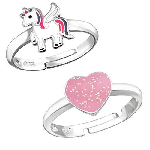 Silber Mädchen Fingerring Emaille Kristalle Verstellbar (2 Stück/Pferd + Herz) ()