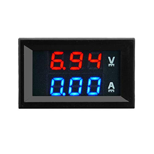 Nihlsen Voltímetro digital de 100V 10A DC Amperímetro Blau + Rot Zweifarbiges Pantalla Amperio LED Voltímetro digital dual Messgerät Multímetro 2 en 1 - Azul - Autos Pantallas