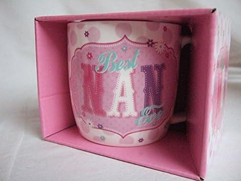 Vintage Mugs Tasse rose de style rétro avec l'inscription en anglais «Best Nan Ever»