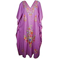 Mogul Interior Womens Kaftan Dresses Bohemian Embroidered Resort Caftan Dress OneSize Pink