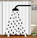 XMDNYE 3D-Druck Duschvorhang Schwarze Dusche Muster, Weiße Wasserdicht und Плесени Bad Vorhang Enthält 12 Haken,180×200Cm