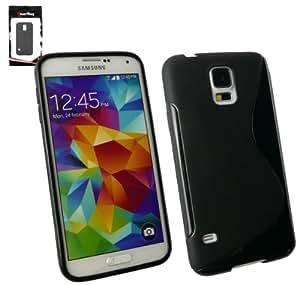 Emartbuy® Samsung Galaxy S5 - Displayschutz und Ultra Slim Griff Gel Case Cover Tasche Hülle Schutzhülle Schwarz