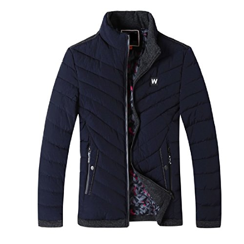 CuteRose Men's Premium Full-zip Stand Collar Warm Outwear Anorak Jacket Navy Blue M Womens Navy Peacoat