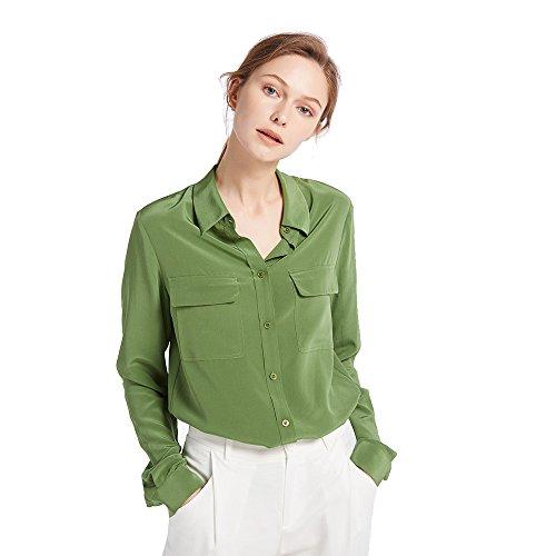LILYSILK Klassisch Seide Damenbluse Hemdbluse Shirt Damen Langärmlig mit Perlmutt-Knopfleiste von 18 Momme (Oliv, S) (Seide S/s Bluse Aus)