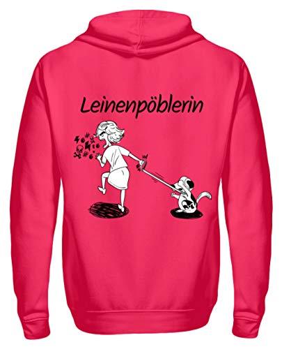 Shirtee Cocoloros Design: Die Leinenpöblerin - Unisex Kapuzenpullover Hoodie -XXL-Hot Pink -