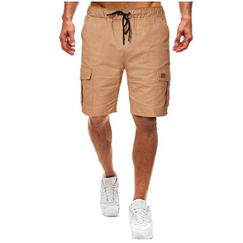 Cargo Shorts Herren Chino Kurze Hose Sommer Bermuda Sport Jogging Training Stretch Shorts Fitness Vintage Regular Qmber,Elastische Taschenhose/Khaki,S -