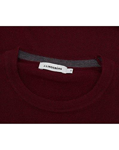 J Lindeberg Homme Lyle vrai Merino Logo Knit, Gris Rouge