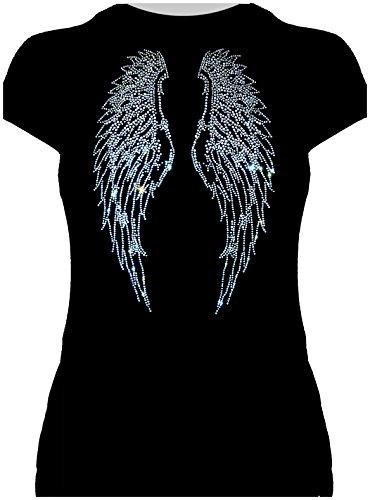 elegantes Damenshirt Flügel gross kristall Engelsflügel Karneval Fasching Kostüm Engel, T-Shirt, Grösse L, (Kostüm Schwarz Engel Flügel)