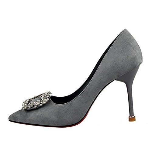 Água Puramente Mulheres Em Apontado Calcanhar Bombas Toe Cinza Diamante Empate Com Aalardom Sapatos Alta qSZrw5qx7U