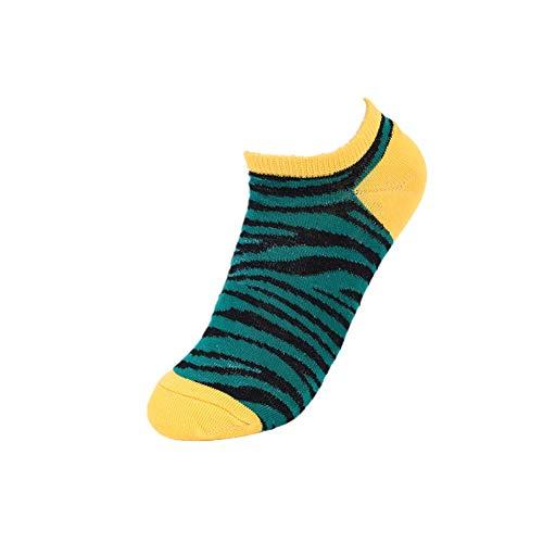HshDUti Leopard Zebra Print Söckchen Color Block Damen Low Cut Atmungsaktiv Green -