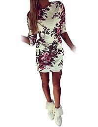 Frauen Druck Blumen Kleid Sexy Halbe Hülse Bodycon Blumenminikleid Für Frauen S Gedruckt