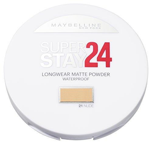 Maybelline New York Super Stay 24h Puder Nude 21 / Wasserfestes Make-Up Powder in einem Hautfarben-Ton, für einen langanhaltenden und makellosen Teint, mit Micro-Flex-Formel, 1 x 9 g