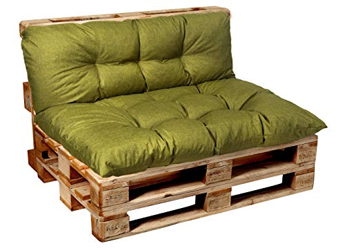 Garden factory - cuscino per bancale, cuscini per pallet, seduta, schienale, set, trapuntato, set (seduta 120x60 + schienale 120x40) lime