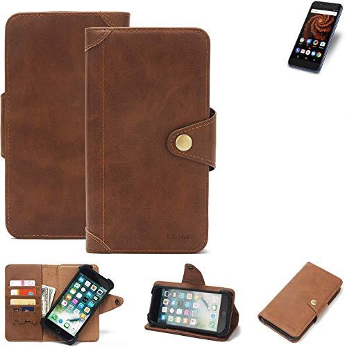 K-S-Trade Handy Hülle für Allview X4 Soul Mini S Schutzhülle Walletcase Bookstyle Tasche Handyhülle Schutz Case Handytasche Wallet Flipcase Cover PU Braun (1x)