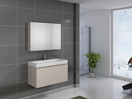 SAM® Badmöbel-Set 2-tlg, Parma, Sonoma-Eiche matt, Softclose Badezimmermöbel, Waschplatz 100 cm Mineralgussbecken, Spiegelschrank