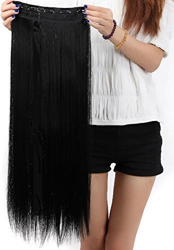S-noilite® Clip in Extensions Halbperücke Haarverlängerung Haarverdichtung Haarteil 3/4 Perücke Glatt One Piece(76cm,Dunkelschwarz)