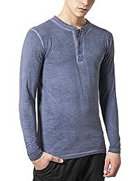 Urban Classics Spray Dye Henley L/S Tee, Sweat-Shirt Homme