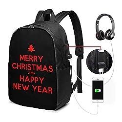 Frohes Neues Jahr und Frohe Weihnachten Laptop Rucksack 17 Zoll mit USB-Ladeanschluss, für Frauen Männer Mode Schultasche