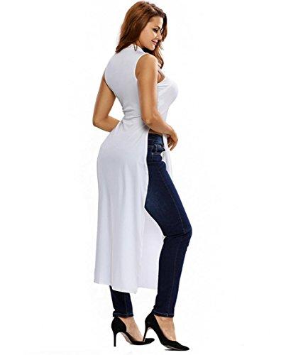 PU&PU Frauen Casual / Daily High Neck Ärmellos Chiffon Patchwork T-Shirt Solid Color Midriff White