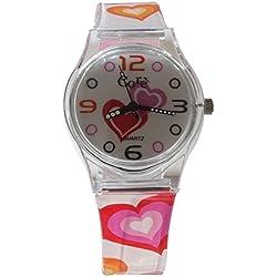 Chicas de base diseño esfera blanca y correa de reloj plástico de corazones multicolores