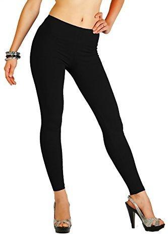 FUTURO FASHION Winter Style Full Length Very Warm Thick Heavy Cotton Leggings (Fleece Inside) Sizes 8-22 P28 Black 14 UK (XL)