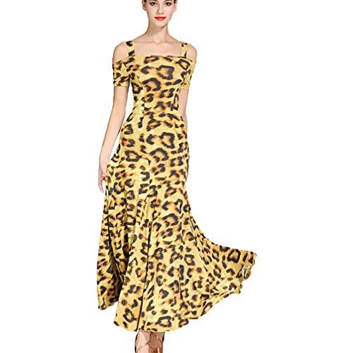 Klassische Jazz Kostüm Dance - Klassisches Halfter Ballsaal Tanz Kleid Für Frauen Trägerlose Schulter Modern Walzer Übungskleid Kurzarm Performance Kostüm, S