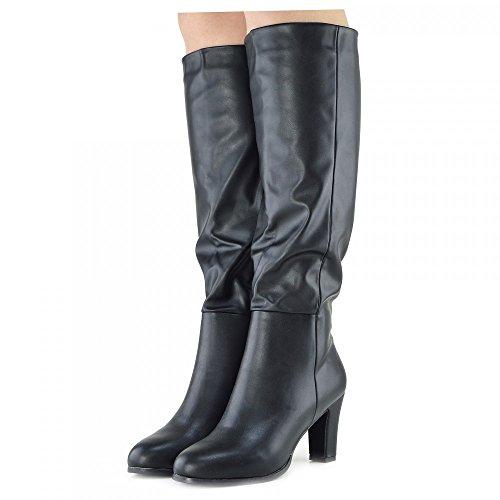 Womens Stivali alti Blocco Tacco Casual in pelle Scamosciata zip all'Interno di Smart Stili di guida Stivali Nero opaco