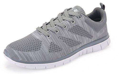 Vibdiv Scarpe da ginnastica e da corsa da uomo, Sneakers leggere con lacci in maglia Grigio