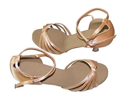 Colorfulworldstore Scarpe classiche da donna per balli latino-americani 5 fasce con nodino in raso rosso/bronzo/color pelle/beige/stampa leopardo color pelle
