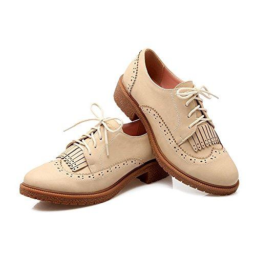 AllhqFashion Damen Niedriger Absatz Weiches Material Rein Rund Zehe Pumps Schuhe Aprikosen Farbe