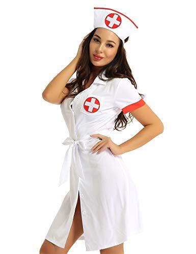 Alvivi Damen Ärztin Krankenschwester Kostüm Doktor Medizin Arztkittel Halloween Karneval Fasching Cosplay Verkleidung Weiß L