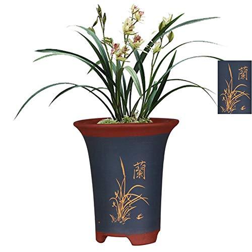 Feiner purpurroter Sandblumentopf, hochwertiger Blumentopf, Orchideenschnitzerei + Chinesischer Charakter-Topfkörper-Musterdesign, Innen / Außen, blau, atmungsaktiv / saugfähig / Feuchtigkeitsabsorpti -