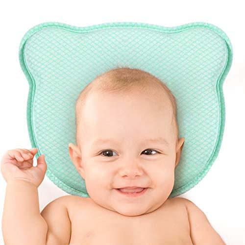 Baby Kopf Gestaltung Kissen für Neugeborene, aikiddo atmungsaktivem Memory-Schaum Kissen zum Schlafen Kopf Stütze Infant schützende Kissen mit Bio Kopfkissenbezug, Baumwolle (0-12 Monate) (Grün) -