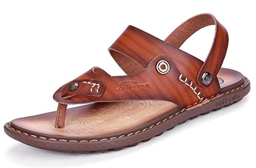 SHIXR Männer öffnen sich zurück Hausschuhe Sommer neue Figuren gezogene Anti-Rutsch-Trend Freizeit Kühle Pantoffeln Multifunktions-Sandalen red brown