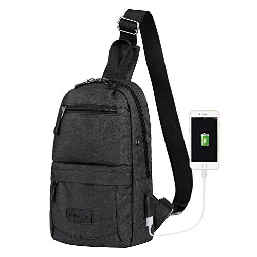 Vbiger Oxford Schultertasche Lässig Brusttasche Cross-Body Brusttasche für Männer und Frauen Schwarz