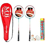 Badminton Combo,set Of 2 Racket And 1 Box MB1000 White Feather Shuttle Cock(pack Of 10) For Begginer,kids,children,girls,boys